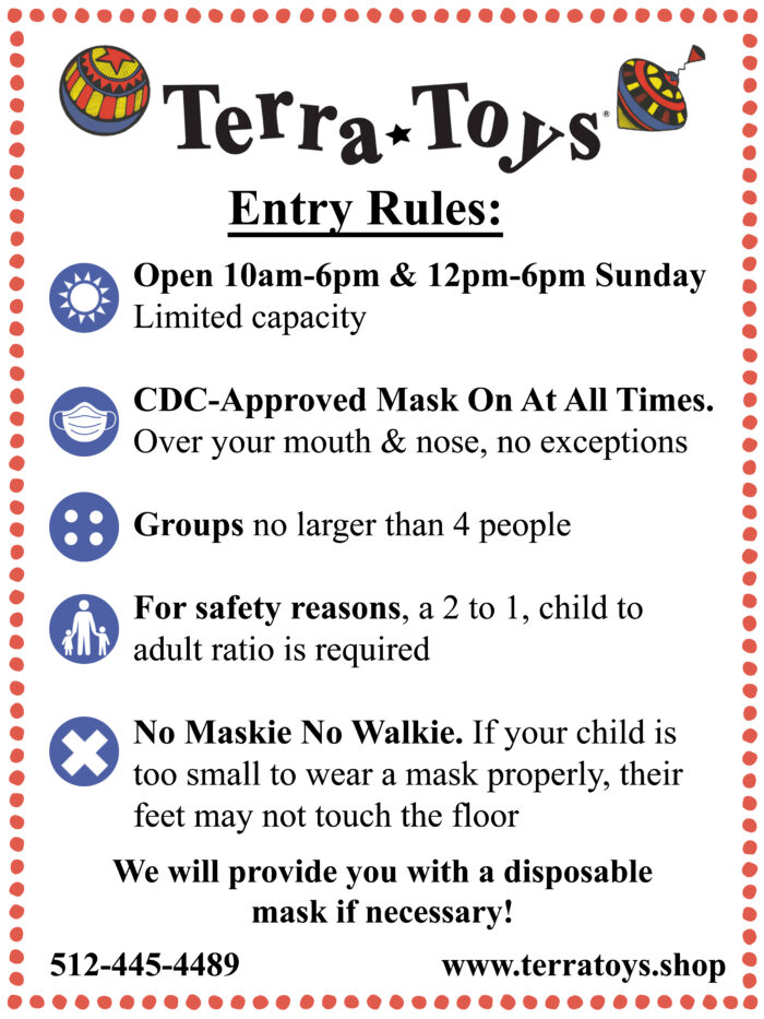 Terra Toys reopening guidelines